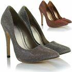 Women Ladies High Heel Silver Gold Glitter Party Evening Pointed Toe Court Shoes
