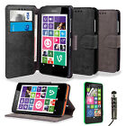 RETRO FLIP WALLET PU LEATHER CASE COVER FOR NOKIA LUMIA 630 635+SCREEN PROTECTOR