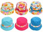 Kids Girls Reversible Cotton Flower Summer Sun Bucket Hat Pink Blue Age 3 4 5