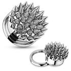 Pair Surgical Steel Multi Spikes Screw Fit Tunnels Hollow Earrings Gauges