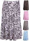 Womens Plus Size Paisley Print Ladies Linen Belt Flared Panel Skater Midi Skirt