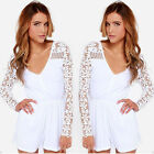 New Women Summer White Jumpsuit V Neck Chiffon Lace Long Sleeve Romper Jumpsuit