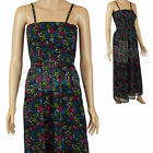 Ladies Monsoon Black Cotton Lined Maxi Sun Summer Dress Beach Size UK 8 10 12