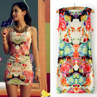 Summer Women Dress Cotton Sleeveless Floral Clubwear Party Dress Sexy Mini Dress