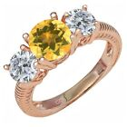2.30 Ct Round Yellow Citrine I/J Diamond 18K Rose Gold Plated Silver Ring