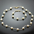 STATIONARY WHITE FRESH WATER PEARL NECKLACE & BRACELET 14K YELLOW GOLD LINKS