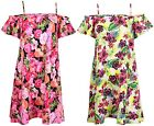 Womens Plus Size Floral Print Ladies Short Sleeve Strappy Flared Swing Dress Top