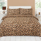Leopard Chocolate Brown Beige Animal Print Duvet Quilt Cover Bedding Set