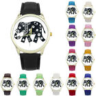 Women Watches Leather Quartz Dial Watches Elephant Printing Pattern Casual Watch