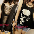 Sexy Casual Womens Punk Skull Summer Hollow Sleeveless Vest T-Shirt Tops Blouse