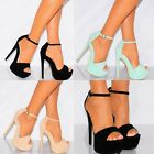 BARELY THERE STILETTOS PLATFORMS STRAPY SANDALS HIGH HEELS PEEP TOES SHOES SIZE
