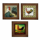 OzSeller ROOSTER COUNTRY CERAMIC FRAMED HOME DECOR TILE/DECORATIVE WALL ART