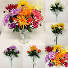 *SUMMER FLOWER BUNDLE* Job Lot Of 6 x Bunches Of Artificial Chrysanthemum & Rose