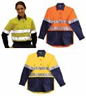 LADIES WOMEN'S LONG SLEEVE SAFETY SHIRT HI VIS 3M REFLECTIVE TAPE WORK WEAR TOP