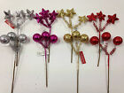 8 x Glitter Picks *Stars & Balls* Ideal For Christmas Wreaths & Garlands