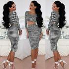 Women Lady Crop Top and Skirt Clothing Set Sexy Two-piece Clubwear Bodycon Dress