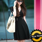 Black Retro Babydoll Curve Faux Wrap Dress L-XL