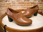 Clarks Tan Brown Leather Promise Chelly Shootie Pumps New