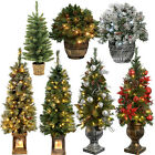 2ft 3ft 4ft Pre-Lit Pine Christmas Tree Warm White LED Lights Decoration Outdoor
