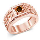 0.55 Ct Poppy 925 Rose Gold Plated Silver Ring Natural Topaz Cut by Swarovski
