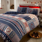 NORDIC SNOWFLAKE THERMAL FLANNELETTE QUILT DUVET COVER BEDDING SET & PILLOWCASE