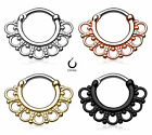 One 316L Surgical Steel Post Tribal Fan Septum Clicker 14G or 16G Nose Ring