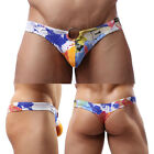 Fashion Sexy Men's Underpants Cotton Thongs Hoop Underwear Printed Boxers T-back