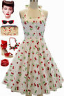 50s Style PLUS SIZE Miss Mabel White CHERRY BOMB Print Pinup HALTER Sun Dress