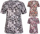 Womens Plus Size Floral Flower Print Ladies Short Sleeve Tunic Long T-Shirt Top