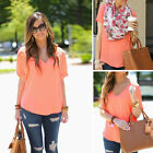 Women's Sexy Fashion Loose Chiffon V-Neck Tops Short Sleeve Shirt Casual Blouse