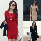 Plus Size Womens Long Sleeve Casual Mini Pencil Dress Sweater Jumper Tops Red