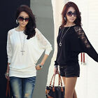 Best-chioce Women Long Sleeve Casual Dolman Lace Loose T-Shirt Batwing Tops OZUS