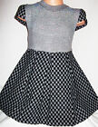 GIRLS GREY & BLACK CHECK PRINT DIAMONTE KNIT WINTER PARTY DRESS