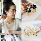 Unique Girl Peony Camellia Gold Plated White Flower Crystal Ear Stud Earrings KZ