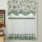 NEW - Dreams Green Floral with Gingham Check Kitchen Tier Curtain