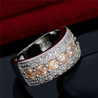 High Quality Champagne Cubic Zirconia Gorgeous Lady's Silver Ring Size 6-9