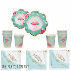 VINTAGE ROSE TEA PARTY SET-Shabby Chic Kit: Plates, Napkins, Lace Bunting & Cups