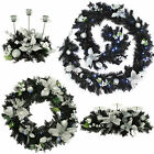 Pre-Lit Black Silver LED Plain Decorated Wreath Garland Swag Arch  Candle Holder