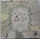 "First Edition 12"" x 12"" Scrapbooking Paper IT'S A BOY new baby 16 shts / sticker"
