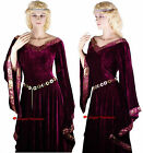 Medieval Burgundy Game of Thrones Gown Dress Costume - 8 10 12 14 16 18 20 22 24