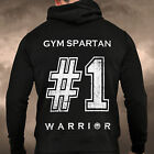 Mens Gym Spartan No1 Black Zip Up Hoodie Zoodie Sweat Boxing Hoody Running MMA