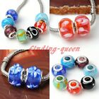 5pc Flower Print Lampwork Glass European Big Hole Bead Fit Charm Bracelet DIY