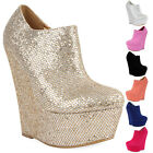 NEW WOMENS PLATFORM WEDGE HEEL ZIP UP LADIES ROUND TOE ANKLE SHOE BOOTS SIZE 3-8