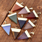 1pc Retro Crystal Quartz Triangle Pyramid Gems Stone Pendant For Necklace Gift