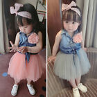New Infant Baby Girl Flower Denim Top Tutu Dresses Clothing Outfit Set Gray Pink