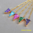 Wholesale 5Pcs Triangle Agate Druzy Charm Connector Necklace Gold Plated BG0236