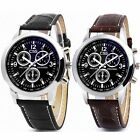 Fashion Men's Date Leather Stainless Steel Military Sport Quartz Wrist Watch New