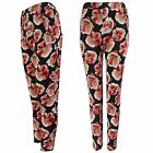 NEW LADIES BLACK ROSE PRINT STRETCH TROUSERS WOMEN CELEB LOOK LONG WAFFLE PANT