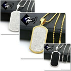 """30""""Stainless Steel 2.5mm Gold/Black/Silver Beads Chain ICED Dog tag Pendant*P43"""
