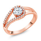 1.10 Ct Round White Zirconia 18K Rose Gold Plated Silver Ring
